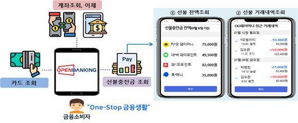 은행 앱에서의 선불충전금 정보 조회 사용예시